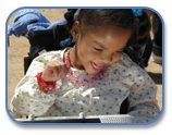 Girl with AAC device